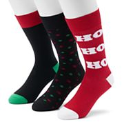 Men's Croft & Barrow® 3-pack Holiday Crew Socks