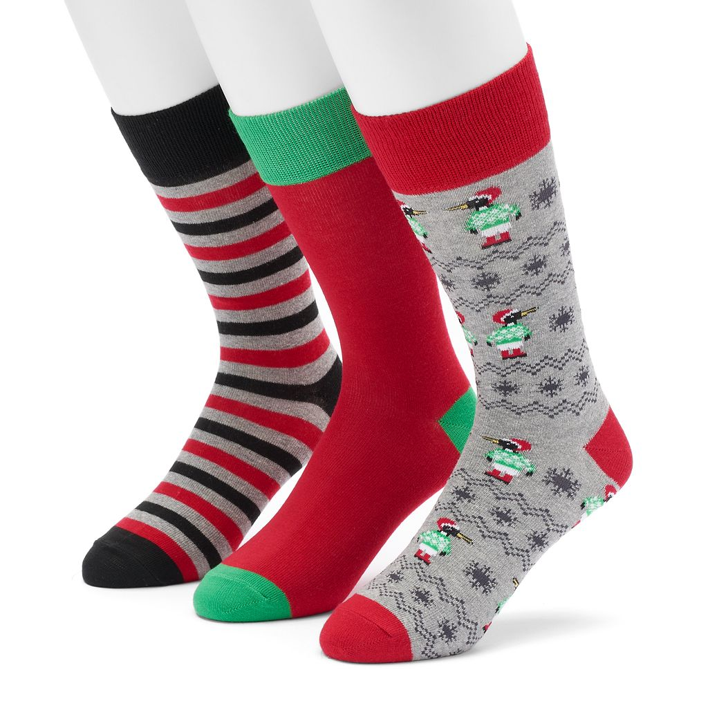 Men's Croft & Barrow® 3-pack Holiday Crew Socks