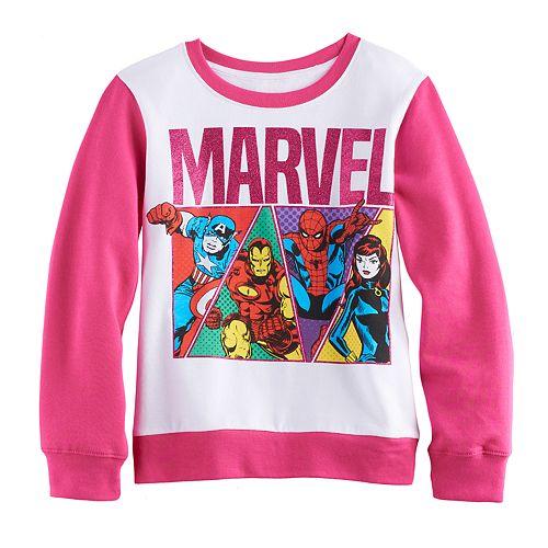 Girls 7-16 Marvel Captain America, Iron Man, Spider-Man & Black Widow Pullover Sweatshirt
