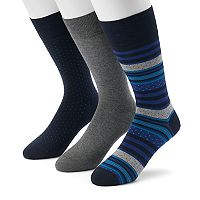 Men's Marc Anthony 3-pack Striped, Dot & Solid Crew Socks