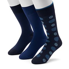 Men's 0 3-pack Dot, Geometric & Solid Microfiber Crew Socks