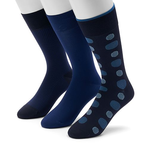 Men's 0 3-pack Dot, Geometric & Solid Microfiber Crew Socks
