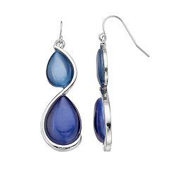 Blue Swirl Double Teardrop Nickel Free Earrings
