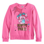 "DreamWorks Trolls Poppy Girls 7-16 ""Happy Vibes"" Foil Graphic Pullover Sweatshirt"