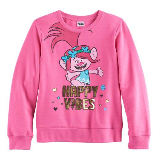 "DreamWorks Trolls Poppy Girls 7-16 ""Happy Vibes"" Foil Graphic Pullover Sweatshirt"