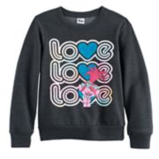 "DreamWorks Trolls Poppy Girls 7-16 ""Love Love Love"" Graphic Pullover Sweatshirt"