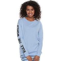 Juniors' SO® Pajamas: 'Rule The World' Graphic Long Sleeve Top