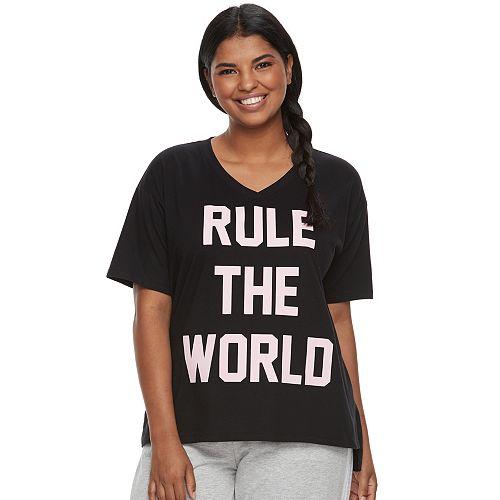 Juniors' Plus Size SO® Pajamas: Short Sleeve Graphic Tee
