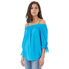 Juniors' IZ Byer Tie Sleeve Off-the-Shoulder Top