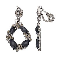 Napier Leafy Wreath Clip On Drop Earrings