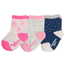 Baby/Toddler Girl OshKosh B'gosh® 3-pk. Dots, Stripes & Dust Bunnies Crew Socks
