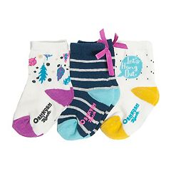Baby/Toddler Girl OshKosh B'gosh® 3-pk. Leaves, Stripes, Bows & 'Lets Hang Out' Crew Socks