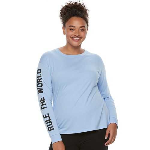 """Juniors' Plus Size SO® Pajamas: """"Rule The World"""" Graphic Long Sleeve Top"""