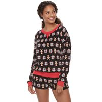 Juniors' SO® Pajamas: Microfleece Long Sleeve Top & Shorts 2-Piece PJ Set