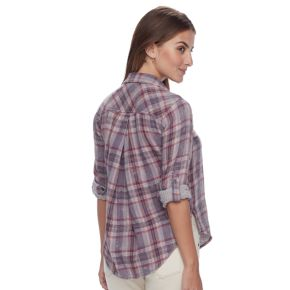 Petite SONOMA Goods for Life? Plaid Splitneck Shirt