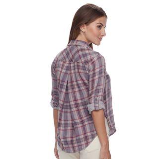 Petite SONOMA Goods for Life? Plaid Splitneck Shirt