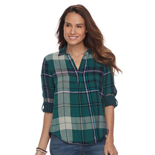 Petite SONOMA Goods for Life™ Plaid Splitneck Shirt