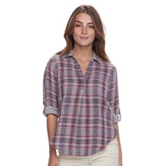 Petite SONOMA Goods for Life™ Plaid Splitneck Shirt