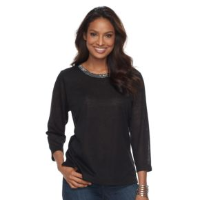 Women's Cathy Daniels Embroidered Linen Top