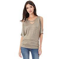 Juniors' IZ Byer Embellished Split Sleeve Top