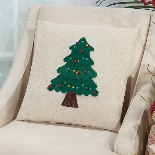 Mina Victory Home for the Holidays Felt Christmas Tree Throw Pillow