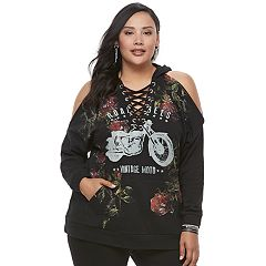 Plus Size Rock & Republic® Lace-Up Cold-Shoulder Graphic Hoodie