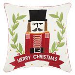 "Mina Victory Home for the Holidays ""Merry Christmas"" Nutcracker Throw Pillow"