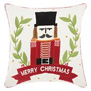 Mina Victory Home for the Holidays 'Merry Christmas' Nutcracker Throw Pillow