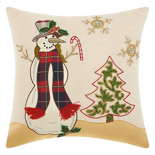 Mina Victory Home for the Holidays Beaded Snowman Throw Pillow