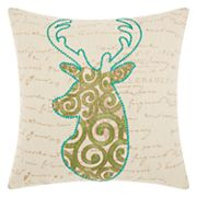 Mina Victory Home for the Holidays Scroll Reindeer Throw Pillow