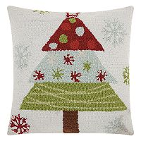 Mina Victory Home for the Holidays Hooked Christmas Tree Throw Pillow