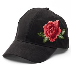 Women's Faux Suede Embroidered Rose Baseball Cap