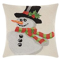 Mina Victory Home for the Holidays Hooked Snowman Throw Pillow