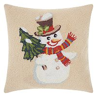 Mina Victory Home for the Holidays Hooked Jolly Snowman Throw Pillow