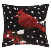 Mina Victory Home for the Holidays Snowy Cardinal Throw Pillow
