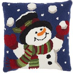 Mina Victory Home for the Holidays Juggling Snowman Throw Pillow