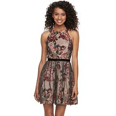 Juniors' Three Pink Hearts Floral Halter Skater Dress