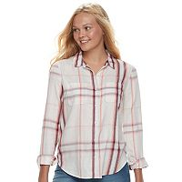 Junior's Mudd® Lace Yoke Plaid Shirt
