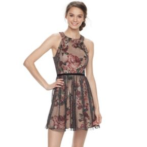 Juniors' Trixxi Floral Tulle Skater Dress