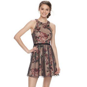 Juniors' Trixxi Floral Tulle Skater Dress