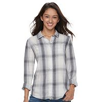 Juniors' Mudd® Bandana Back Plaid Shirt