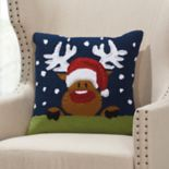 Mina Victory Home for the Holidays Reindeer in the Snow Throw Pillow