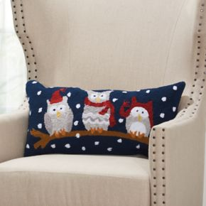 Mina Victory Home for the Holidays Owls on a Branch Oblong Throw Pillow