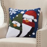 Mina Victory Home for the Holidays Cozy Penguins Throw Pillow