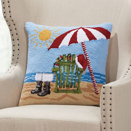 Mina Victory Home for the Holidays Santa's Boots on the Beach Throw Pillow