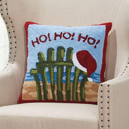 "Mina Victory Home for the Holidays Beach ""Ho, Ho, Ho"" Throw Pillow"