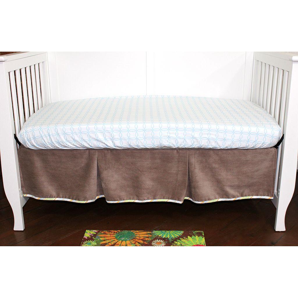 Nurture Basix 2-pc. Cocoa Shades Pleated Dust Ruffle & Blue Links Crib Sheet Starter Set