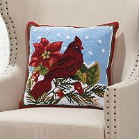 Mina Victory Home for the Holidays Cardinal & Holly Throw Pillow
