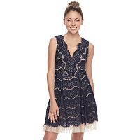 Juniors' Trixxi Scalloped Lace Skater Dress