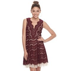 Juniors' Three Pink Hearts Scalloped Lace Skater Dress